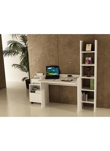Sanal Mobilya Sirius Dolaplı Kitaplıklı Çalışma Masası 90-Gk-3A Beyaz